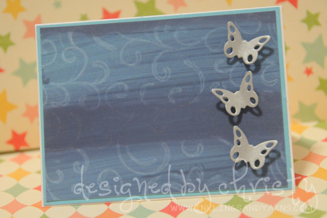 dry stamping on distress paint 2