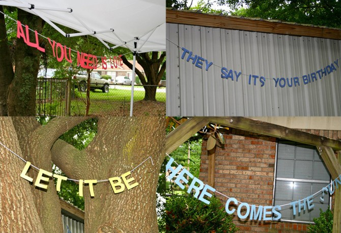 Beatles Birthday Party Song Lyric Banners | www.inklingsandyarns.com
