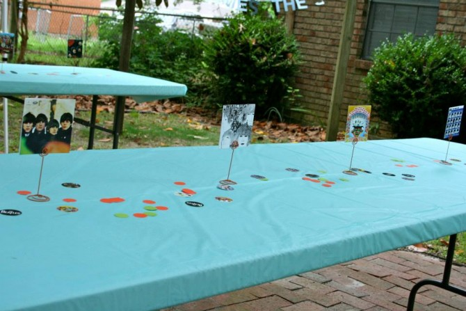 Beatles Birthday Party Table Decorations | www.inklingsandyarns.com