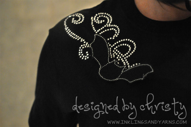 Bat Shirt with Silhouette Cameo Rhinestone Kit | www.inklingsandyarns.com