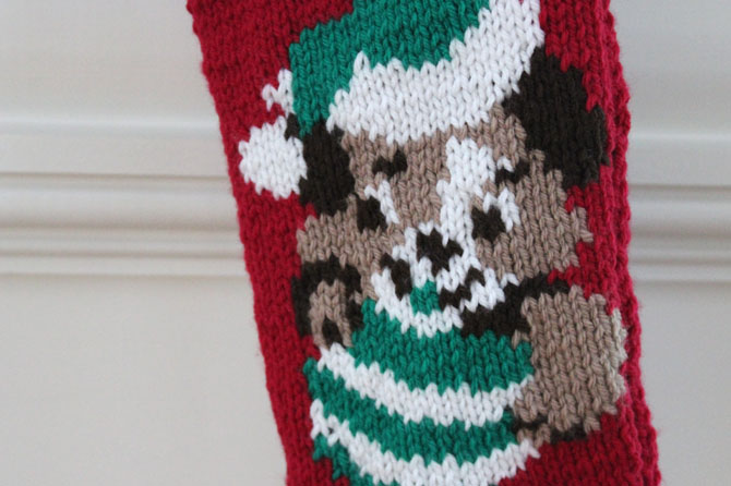 Knitted Puppy Christmas Stocking | Inklings & Yarns